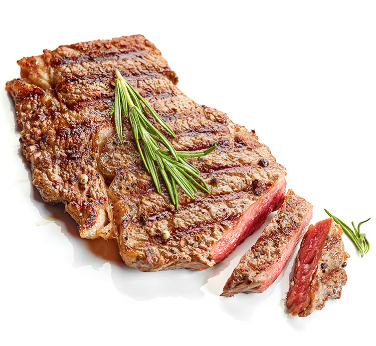 grilled beef steak decorated with rosemary isolated on white background